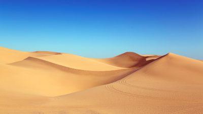 Desert, Sand Dunes, Clear sky, Blue Sky, 5K
