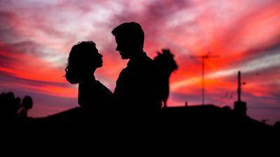 Couple, Silhouette, Sunset, Man, Woman, Romantic, 5K
