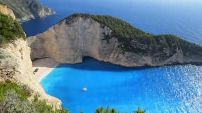 Zakynthos, Island, Navagio Beach, Shipwreck Beach, Ionian Islands, Greece, Cliff, Coast, Blue sea