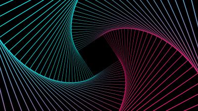 Geometric, Pattern, Spiral, Neon, Gradient, Black background, 5K, 8K