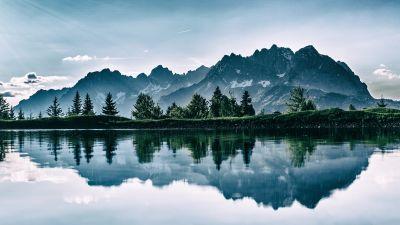 Mountains, Cold, Lake, Riven, Reflection, Trees, 5K
