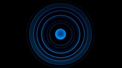 Circles, Illusion, Black background, Spiral, Blue rings, 5K
