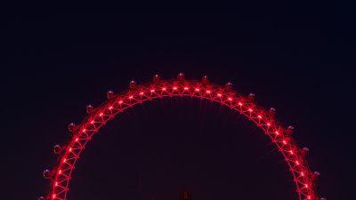 London Eye, Ferris wheel, Tourist attraction, Night, Illuminated, 5K