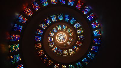Spiral ceiling, Stained glass, Church, HD