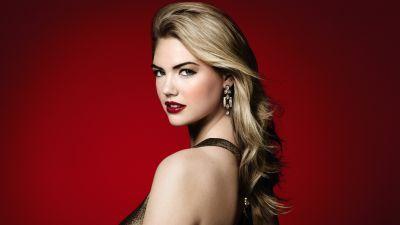 Kate Upton, American model, Portrait, Beautiful, 5K, 8K, Red background
