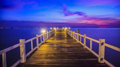 Wooden pier, Bridge, Sunset, Horizon, Resort, Dawn, Vacation, Holidays, Phuket, Thailand, 5K