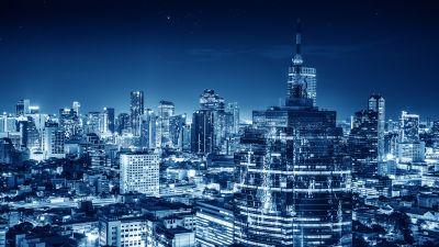 Bangkok, Cityscape, City lights, Night, Metropolitan, Blue, Buildings, Skyscraper, Thailand, 5K