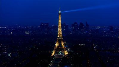 Eiffel Tower, Night, Cityscape, Lighting, Blue Sky, Paris, 5K