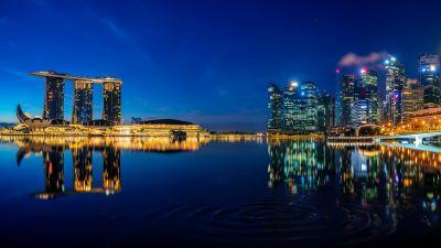 Singapore, Marina Bay Sands, Downtown, Cityscape, City lights, Night, Reflections, Skyline, 5K