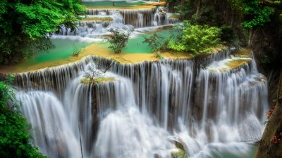 Huai Mae Khamin Waterfall, Tourist attraction, Rainforest, Spring, Thailand, 5K
