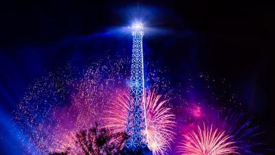 Eiffel Tower, Fireworks, Bastille Day, Night, Paris