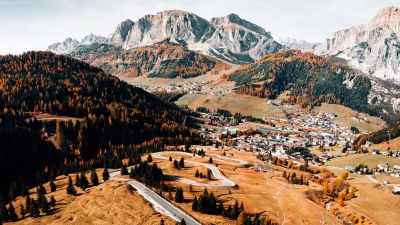 Autumn, Mountains, Landscape, Road, Aerial view, Forest, Italy