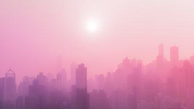 Cityscape, Urban, Pink, Foggy, Sunrise, Skyscrapers, 5K