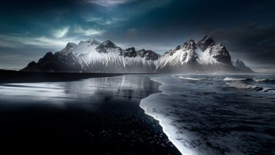 Vestrahorn mountain, Stokksnes, Beach, Icelandic coast, Snow covered, Evening, Dark, Cold, Mountains, Iceland