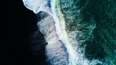 Reynisfjara Black Sand Beach, Waves, Aerial view, Ocean, Iceland