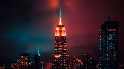Empire State Building, Manhattan, New York City, Skyscraper, Night, Cityscape, City lights, Urban, Colorful, 5K