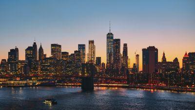 Manhattan, New York City, Manhattan Bridge, Cityscape, Sunset, Urban, Evening, City lights, 5K