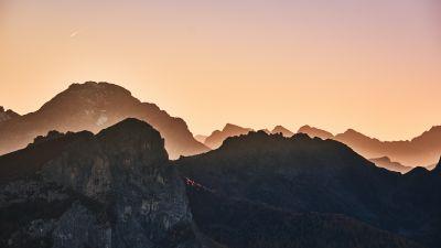 Giau Pass, Mountain range, Dolomites, Sunrise, Landscape, Italy, 5K