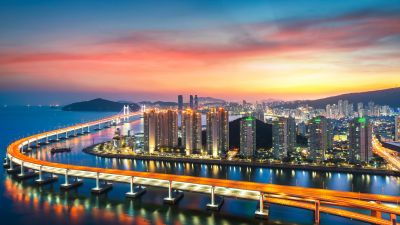 Busan, Gwangan Bridge, City lights, Sunset, Harbor, Red Sky, Metropolitan, Urban, South Korea, 5K