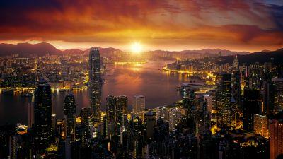 Hong Kong, Cityscape, Sunrise, City lights, Skyline, 5K