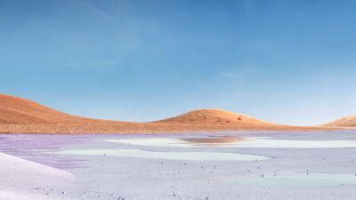 Landscape, Grass field, Glacial lake, Clear sky, Microsoft Surface Pro X, Stock