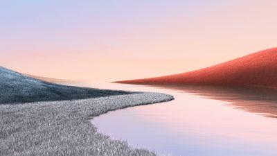 Landscape, Grass field, Lake, Clear sky, Microsoft Surface, Stock, Aesthetic