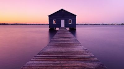Boathouse, Sunrise, River, Morning, Seascape, Purple, Wooden pier, Deck, Winter