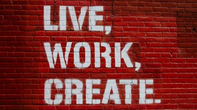 Live, Work, Create, Brick wall, Red, Motivational, Inspirational quotes