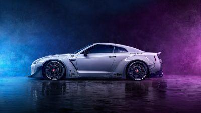 Nissan GT-R, Neon, Digital Art, Smoke, Dark background