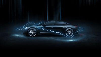 Porsche Taycan Turbo, TechArt, 2020, Dark background, AMOLED
