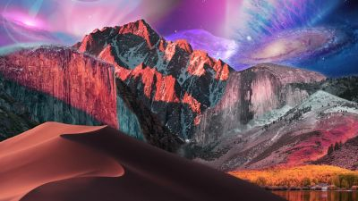macOS, Surreal, Digital composition, macOS Catalina, macOS High Sierra, macOS Mojave, Mountains, Stock, 5K