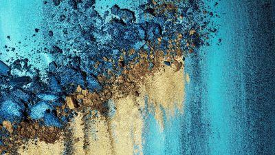 Sand art, Colorful, Teal, Golden