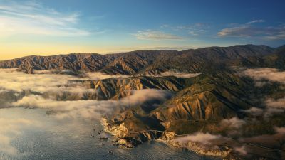 Big Sur, Mountains, Clouds, Daylight, Sunny day macOS Big Sur, Stock, California, 5K