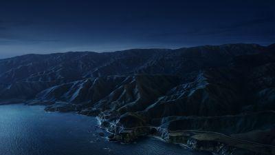 Big Sur, Mountains, Night, Dark, macOS Big Sur, Stock, California, 5K