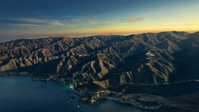 Big Sur, Mountains, Golden hour, Sunset, Evening, macOS Big Sur, Stock, California, 5K