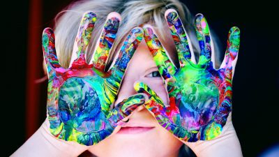 Cute girl, Adorable, Cute Child, Colorful, Paint, Cute hands, 5K