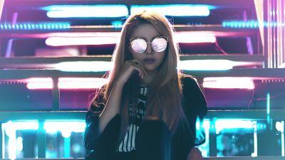 Girl, Urban Girl, Metal stairs, LED lights, Neon, Sunglasses