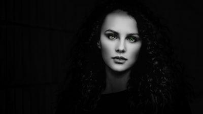 Woman, Beautiful, Portrait, Black background, Fair