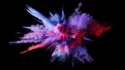 Color burst, Splash, Colorful, Black background, macOS Sierra, Stock, 5K