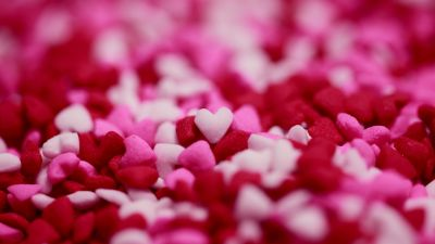 Love hearts, Pink, Red, Candies, Bokeh, Girly backgrounds, Pink background, 5K