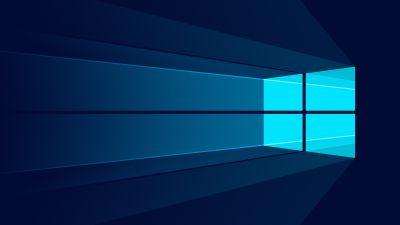 Windows 10, Microsoft Windows, Minimalist, Blue background
