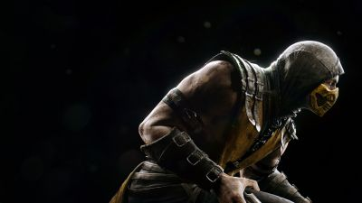 Scorpion, Mortal Kombat X, Black background, PlayStation 4, Android, Xbox One, PC Games, iOS games, 5K