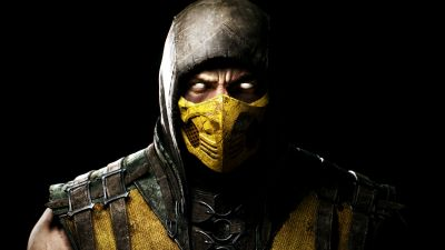 Scorpion, Mortal Kombat 11, Black background, PlayStation 4, Android, Xbox One, PC Games, iOS games, 5K