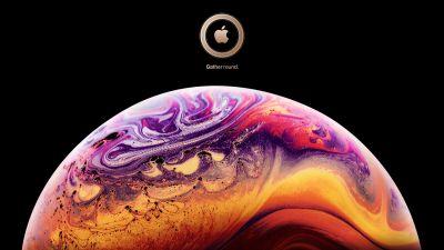 iOS 12, iPhone XS, Stock, Black background