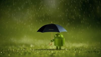 Android logo, Android robot, Umbrella, Rain, Green