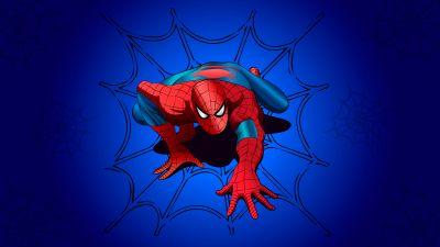 Spider-Man, Blue background, Marvel Superheroes