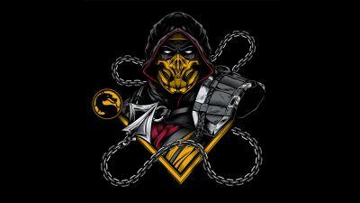 Scorpion, Mortal Kombat, Artwork, Black background