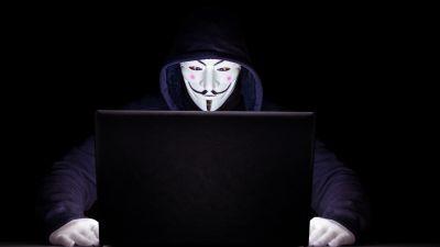 Anonymous, Hacker, Laptop, Black background, 5K