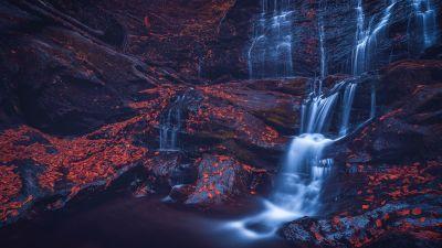 Moss Glen Falls, Waterfall, Rocks, Stowe, Vermont, USA, 5K