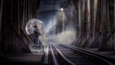 Cute Girl, Railway track, Train station, Umbrella, Rainy day, 5K